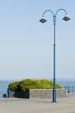 Posta blu d'annata della lampada Fotografia Stock Libera da Diritti