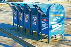 Fila delle scatole della casetta postale degli Stati Uniti Fotografie Stock Libere da Diritti