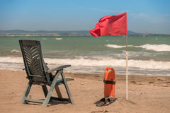 Posta del bagnino sulla riva di mare Fotografia Stock Libera da Diritti