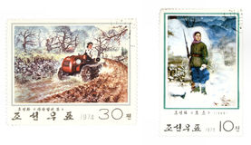 Posta del Korea di Nord - francobolli Fotografia Stock