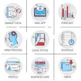 Posta del messaggio di posta in arrivo del email di App, previsione di dati del mercato, insieme dell'icona del biglietto da visi Fotografia Stock Libera da Diritti