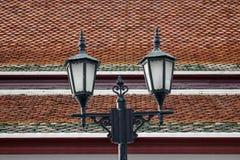 Posta della lampada di vecchio stile a Bangkok, Tailandia fotografia stock libera da diritti