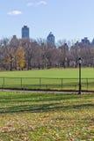 Posta della lampada e dell'albero al Central Park Fotografia Stock Libera da Diritti
