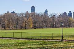 Posta della lampada e dell'albero al Central Park immagine stock libera da diritti