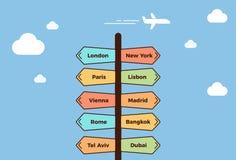 Posta della strada che indica verso le città differenti Cartello che mostra le destinazioni di viaggio differenti Concetto di vac illustrazione vettoriale