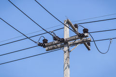 Posta di elettricità del primo piano Immagini Stock Libere da Diritti
