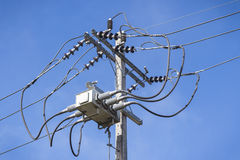 Posta di elettricità del primo piano Fotografie Stock