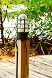 Posta di elettricità sul ponte di legno Immagine Stock Libera da Diritti