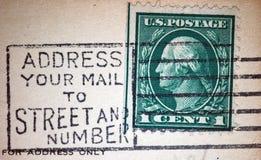 Posta di indirizzo da Street e dal timbro postale di numero Immagini Stock