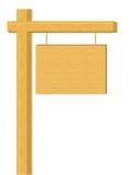 Posta di legno in bianco dell'insegna (isolata) Immagine Stock Libera da Diritti