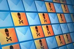 Posta elettronica del email, dello Spam e del virus Fotografie Stock Libere da Diritti