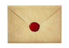 Posta kuvertet eller brevet som förseglas med vaxskyddsremsastämpeln Royaltyfri Bild