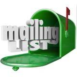 Posta listan uttrycker databas för marknadsföringen för direkt post för brevlådan Arkivfoto