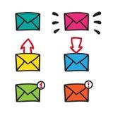 Posta symbolen, symbolet, illustrationsvartlinjer på vit Arkivfoton