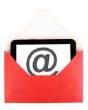 posta tableten Fotografering för Bildbyråer
