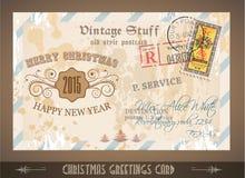 Postacard d'annata per le cartoline d'auguri di Natale royalty illustrazione gratis