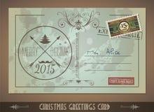 Postacard d'annata per le cartoline d'auguri di Natale illustrazione vettoriale