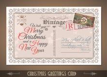 Postacard d'annata per le cartoline d'auguri di Natale illustrazione di stock