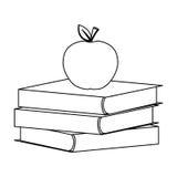 Postaci książki z czerwonym jabłkiem na wierzchołku Zdjęcia Royalty Free