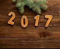 Postacie 2017 na drewnianym tle pod jodły gałąź przy wierzchołkiem rama, Zdjęcia Royalty Free