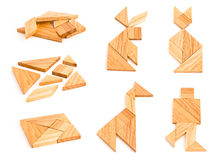 postacie odosobniony tangram Fotografia Royalty Free