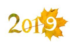 2019 postacie rzeźbić od żółtych liści klonowych Zdjęcie Stock
