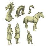 Postacie samurajowie, koń i wąż, duży set royalty ilustracja