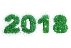 Postacie 2018 zielona błyskotliwość na białym tle Fotografia Royalty Free