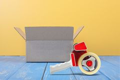 Postage And Packing Service - Open Small Package Front View And Royalty Free Stock Photos