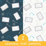 Postage Email Seamless Vector Pattern Set Royalty Free Stock Images