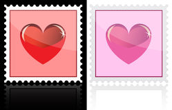 Postage with heart icon. On white and black Stock Image