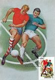 Postage mark printed in USSR shows the image of the players football. Special printing by postmark - `Frst day. Sport. USSR. vector illustration