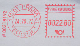 Postage meter from Prague stock photography
