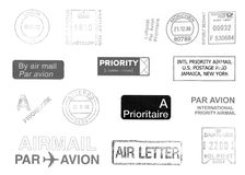Postage meters. Rubber stamps, mail labels isolated over white Royalty Free Stock Photography