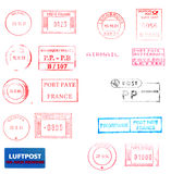 Postage meters, rubber stamps. Mail labels isolated over white Stock Images