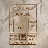 Postage meters, rubber stamps, mail labels on paper background Stock Images