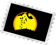Postage stamp - 13. Halloween's night. Evil moon and bats at Halloween Stock Photography
