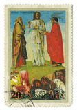 Postage stamp. MONGOLIA - CIRCA 1972: A stamp printed in MONGOLIA shows paint by Bellini Blessed Transfiguration, circa 1972 Royalty Free Stock Image