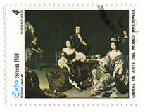 Postage stamp. CUBA - CIRCA 1980: A stamp printed in CUBA shows paint by WILLEM Van MIERIS Large Family, circa 1980 vector illustration