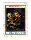 Postage stamp. POLAND - CIRCA 1977: A stamp printed in POLAND shows paint by Musician, circa 1977 royalty free illustration