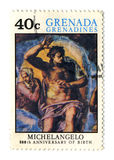 Postage stamp. GRENADA - CIRCA 1975: A stamp printed in GRENADA dedicated artist Michelangelo di Lodovico Buonarroti Simoni 500th Anniversary of birth, circa stock illustration