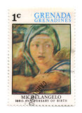 Postage stamp. GRENADA - CIRCA 1975: A stamp printed in GRENADA dedicated artist Michelangelo di Lodovico Buonarroti Simoni 500th Anniversary of birth, circa vector illustration