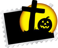 Postage stamp - 15. Halloween's night. Pumpkin and grave on moon background for your Halloween Stock Photos