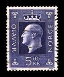 Postage stamp. NORWAY-CIRCA 1957: A stamp printed in NORWAY shows image portrait to the Olav V (2 July 1903 - 17 January 1991) was the king of Norway from 1957 Stock Photography