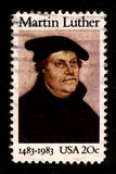 Postage stamp. USA - CIRCA 1983: A stamp printed in USA shows image portrait Martin Luther (10 November 1483 - 18 February 1546) was a German priest and vector illustration