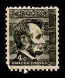 Postage stamp. USA-CIRCA 1930: A stamp printed in USA shows Abraham Lincoln (February 12, 1809 - April 15, 1865) served as the 16th President of the United Royalty Free Illustration