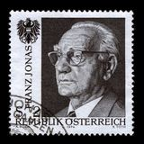 Postage stamp. AUSTRIA-CIRCA 1974:A stamp printed in AUSTRIA shows image of the Franz Josef Jonas (October 4, 1899, Vienna - April 24, 1974, Vienna) was an stock illustration