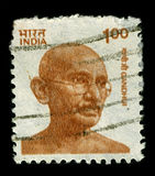 Postage stamp. INDIA-CIRCA 1991:A stamp printed in INDIA shows image of Mohandas Karamchand Gandhi was the pre-eminent political and ideological leader of India Royalty Free Stock Photography