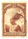 Postage Stamp. Belgian Congo postage stamp on white background Royalty Free Stock Image