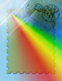 Postage Stamp. Computer generated background design. Old postmark from the early 1900s. Large stamp outline with ray of rainbow light projecting outward. Add a Stock Image